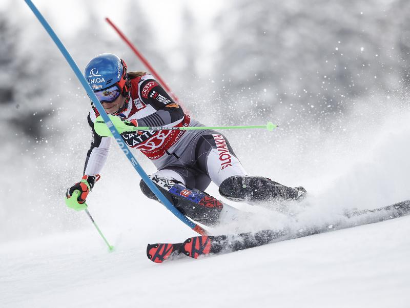 Petra Vlhová počas prvého kola finálového slalomu