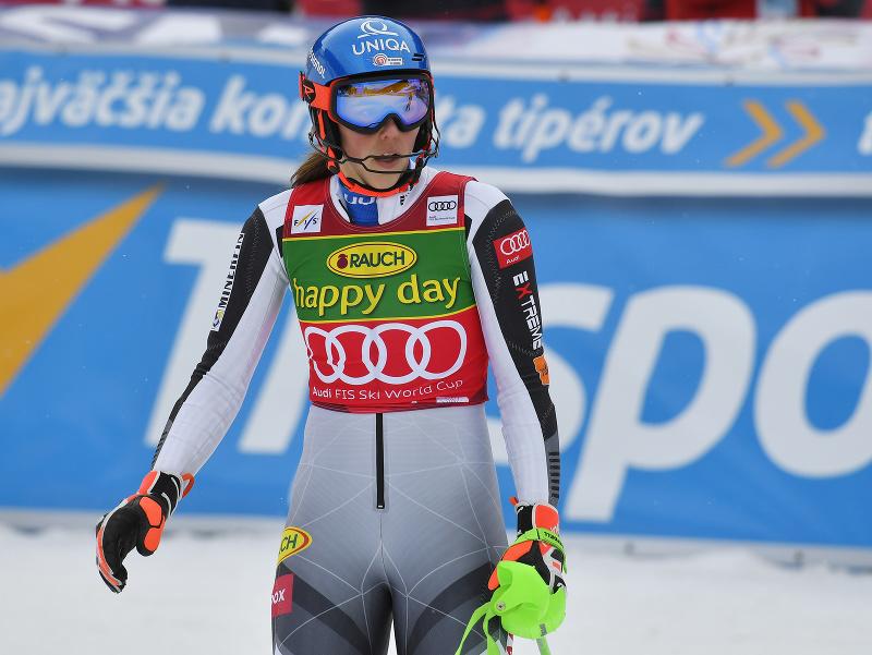 Slovenská lyžiarka Petra Vlhová v cieli 2. kola slalomu v Jasnej