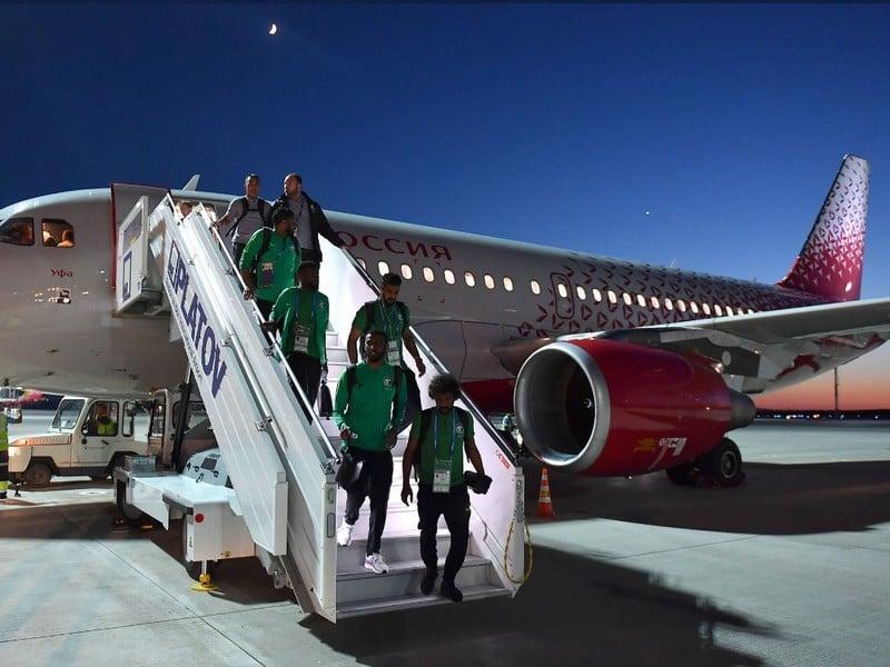 Futbalisti Saudskej Arábie po prílete do Rostovu na Done