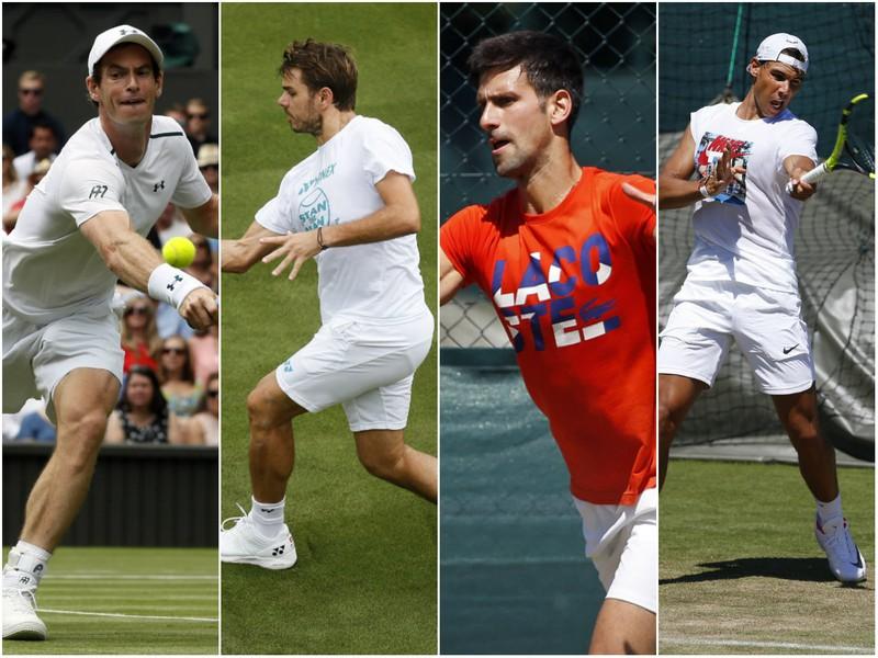 Andy Murray, Stan Wawrinka, Novak Djokovič a Rafael Nadal