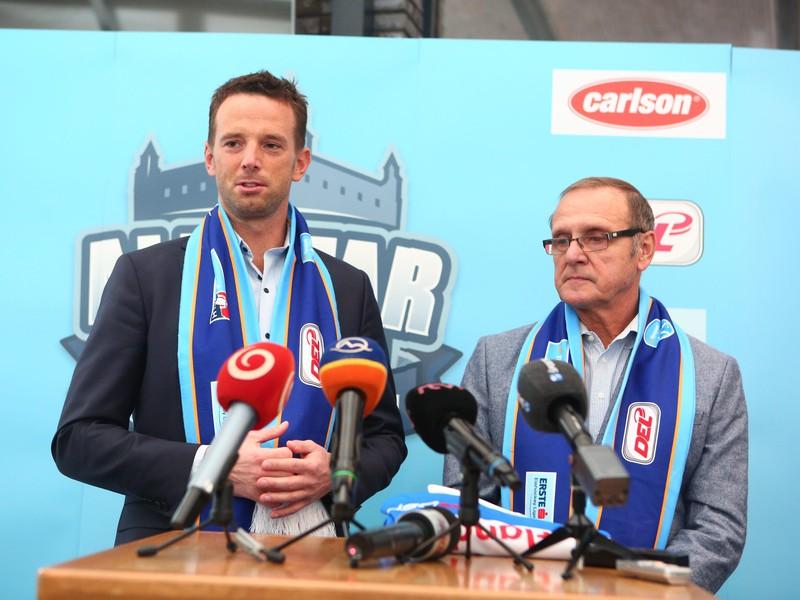 Richard Lintner a Ján Filc, ktorý bude trénerom výberu slovenskej hokejovej Tipsport ligy na februárovej exhibícii All Star Cup 2018