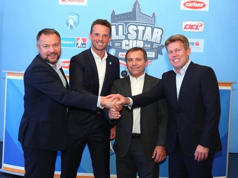Richard Lintner, Jozef Řezníček, Christian Feichtinger a Gernot Tipcke na tlačovej konferencii k All Star game v Bratislave