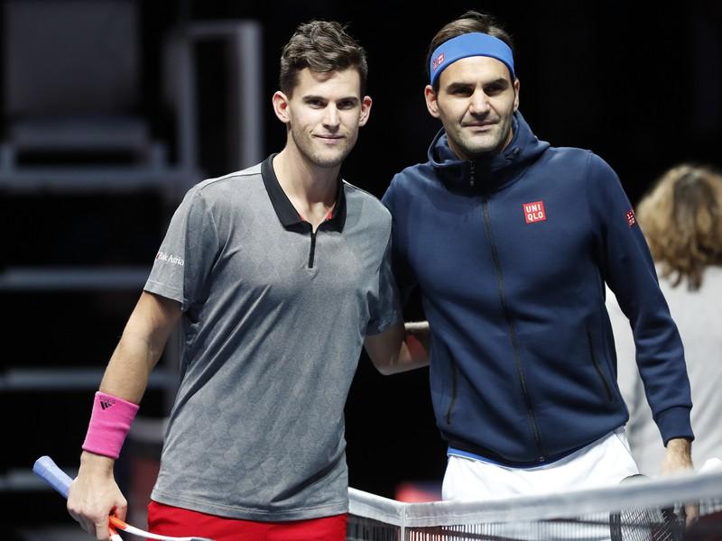 Dominic Thiem a Roger Federer