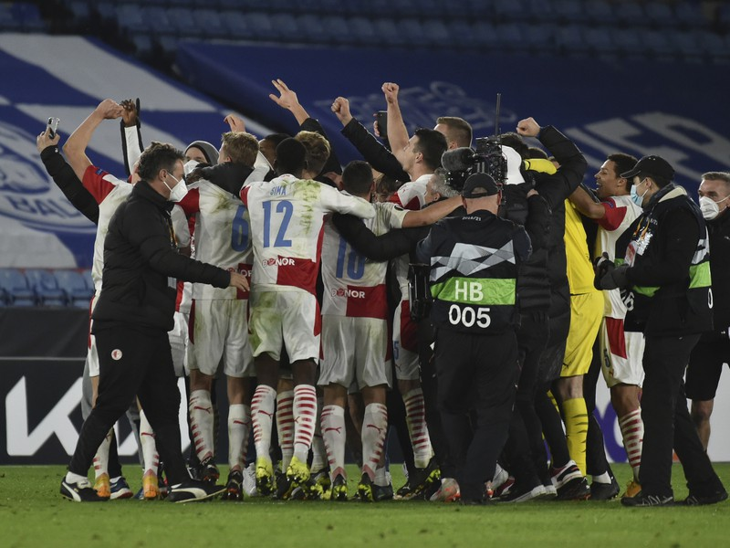 Oslavy hráčov Slavie Praha po postupe cez Leicester City