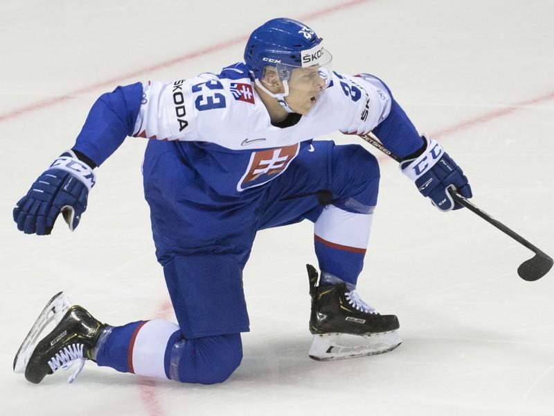 Na snímke Adam Liška (Slovensko) sa raduje zo svojho druhého gólu