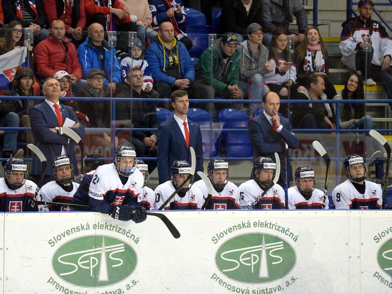 Na snímke striedačka Slovenska, uprostred v pozadí tréner Norbert Javorčík
