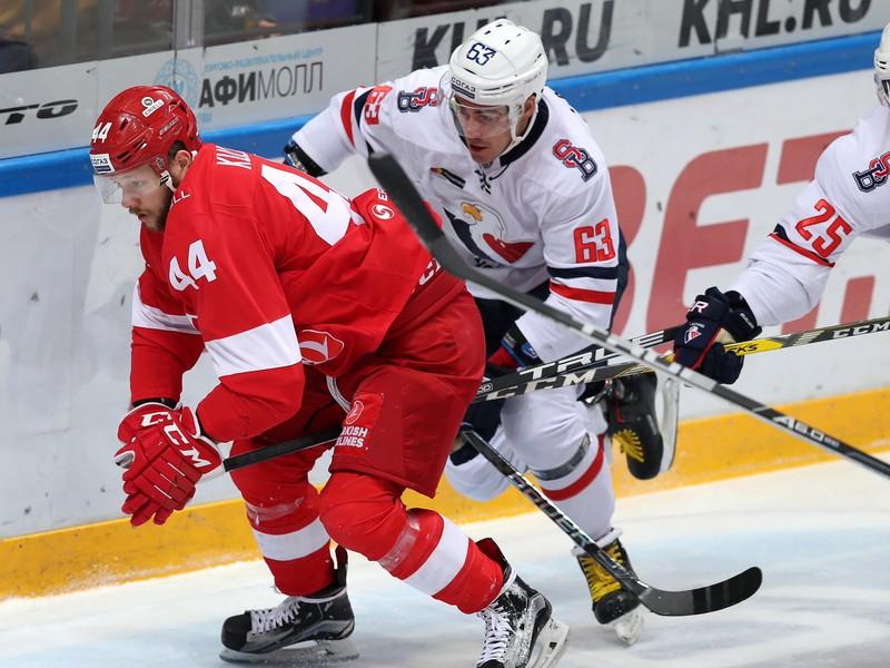 Momentka zo zápasu Spartak Moskva - HC Slovan Bratislava