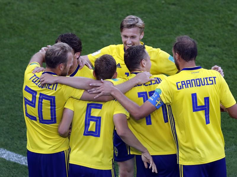 Radosť hráčov Švédska