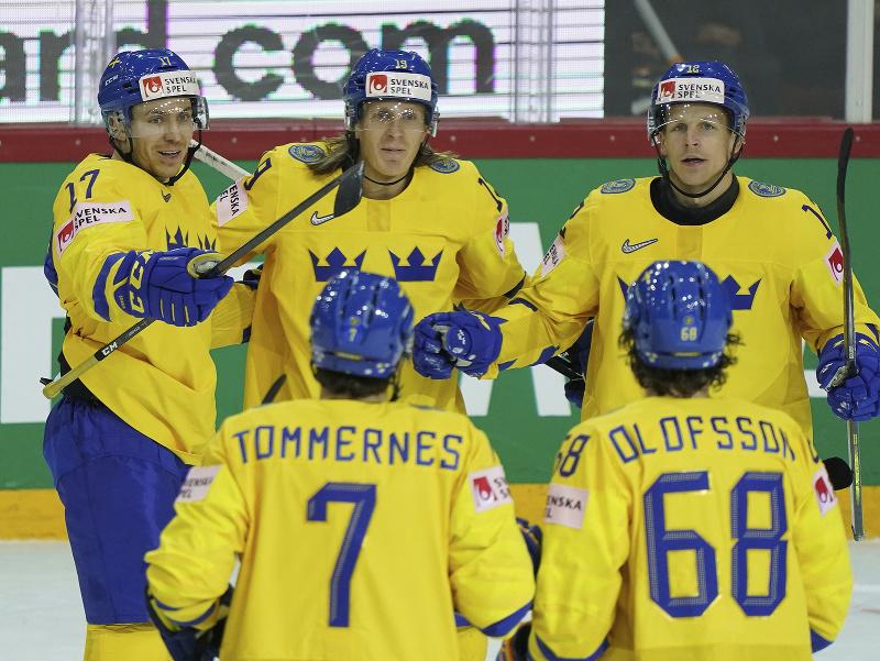 Gólové oslavy hráčov Švédska
