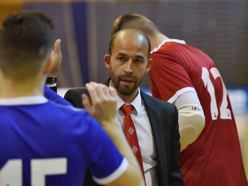 Tréner Slovenskej futsalovej reprezentácie Marián Berky pred zápasom Slovensko - Rusko