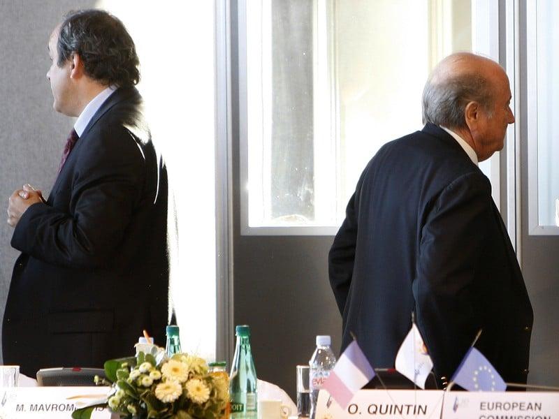 Michel Platini a Sepp Blater