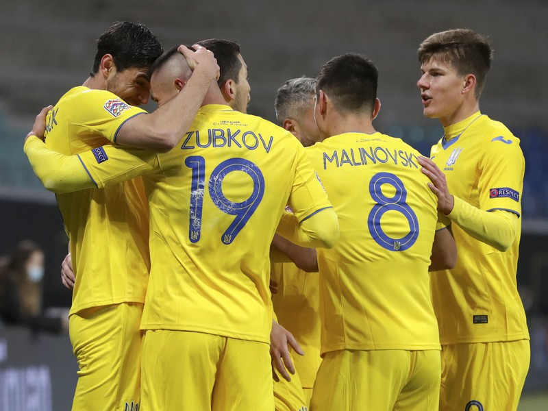 Gólová radosť ukrajinských hráčov v Lige národov