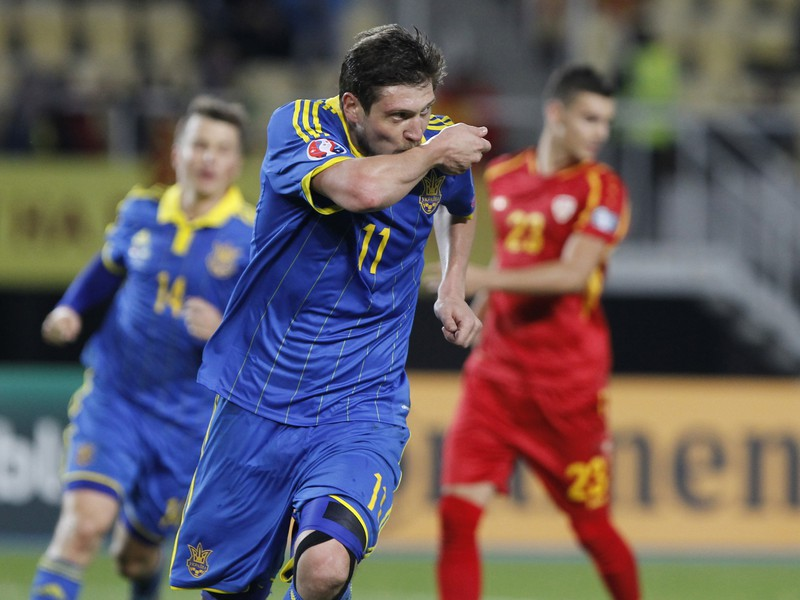 Yevhen Seleznyov oslavuje gól