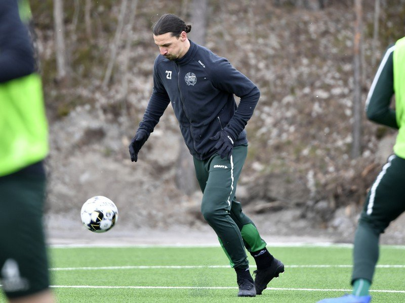 Zlatan Ibrahimovič na tréningu s tímom Hammarby