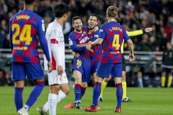 Radosť hráčov Barcelony