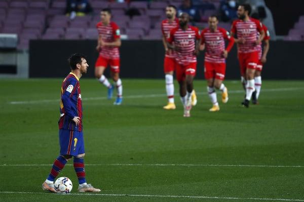 Frustrovaný Lionel Messi a