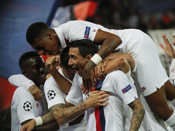 Radosť hráčov PSG v zápase proti Real Madrid